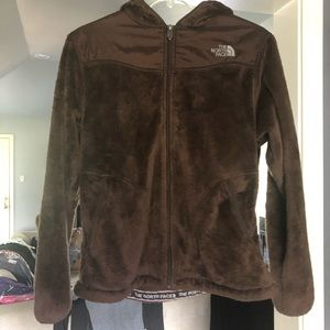 North face brown fuzzy jacket